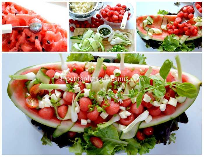préparation salade de pastèque