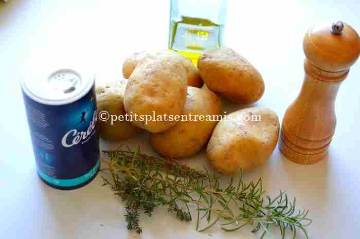 ingrédients pour pommes de terre frites au four
