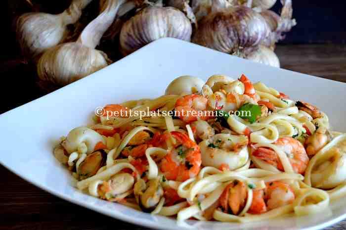 pâtes aux fruits de mer recette