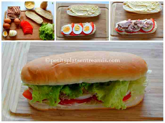 préparation sandwich au thon