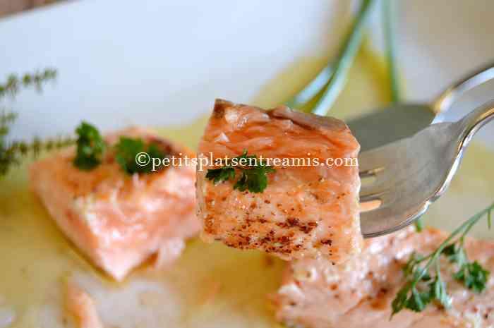 dégustaion de pavé de saumon au beurre blanc