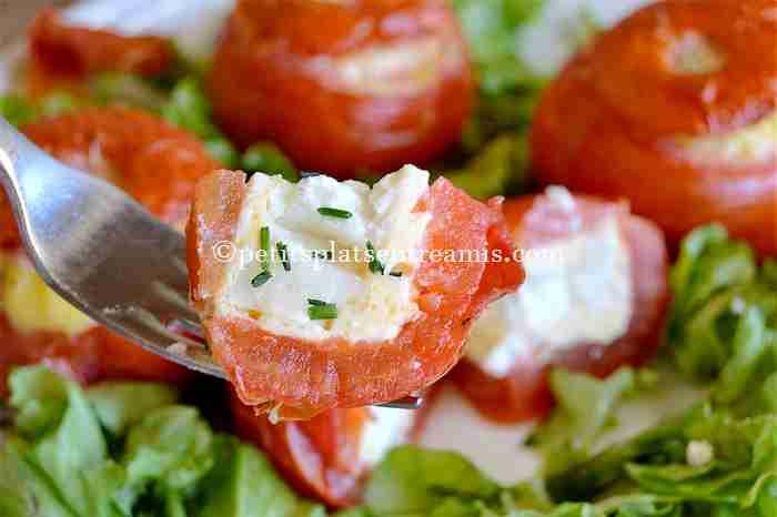 dégustation tomates farcies au chèvre