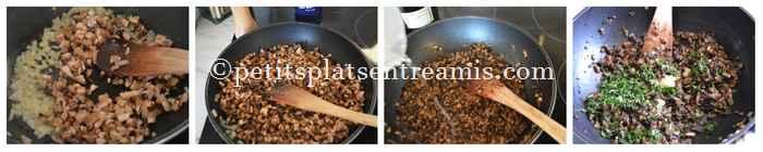 farce pour tartelette aux champignons