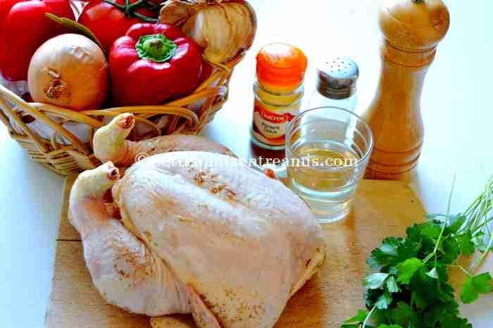 ingrédients du poulet-basquaise