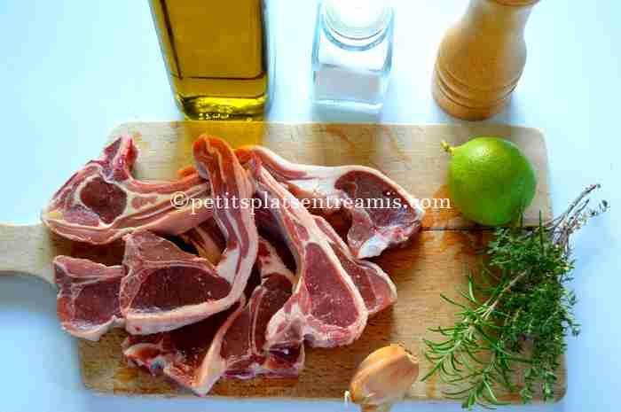 ingrédients pour côtelettes-d'agneau-à-la-plancha