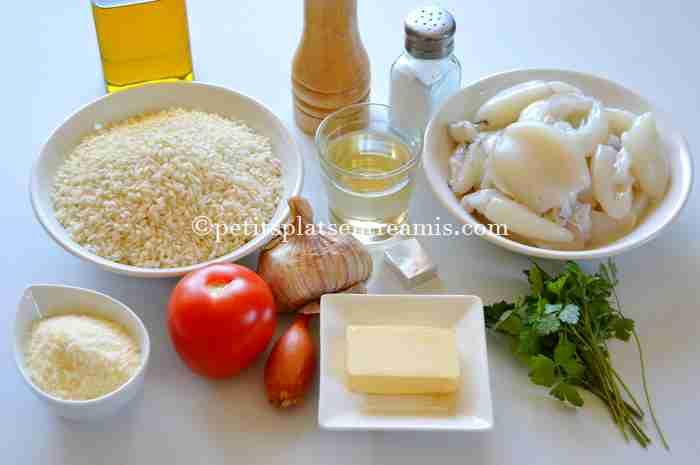 ingrédients risotto aux seiches