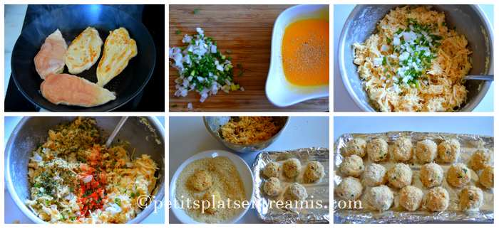 préparation boulettes de poulet et fromage