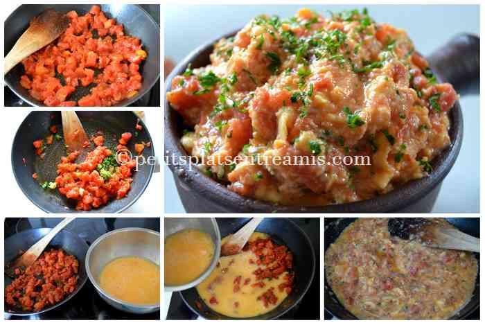 cuisson-de-la-brouillade-de-tomates