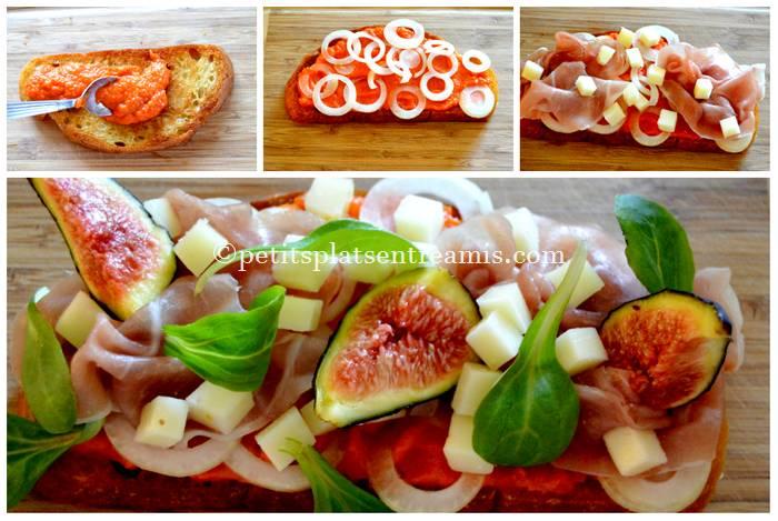 préparation tartine jambon de pays et figues
