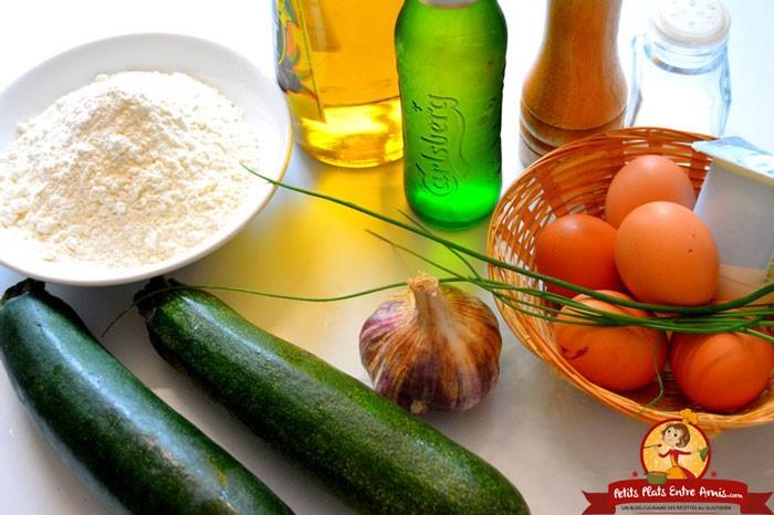 ingredients-des-beignets-de-courgettes