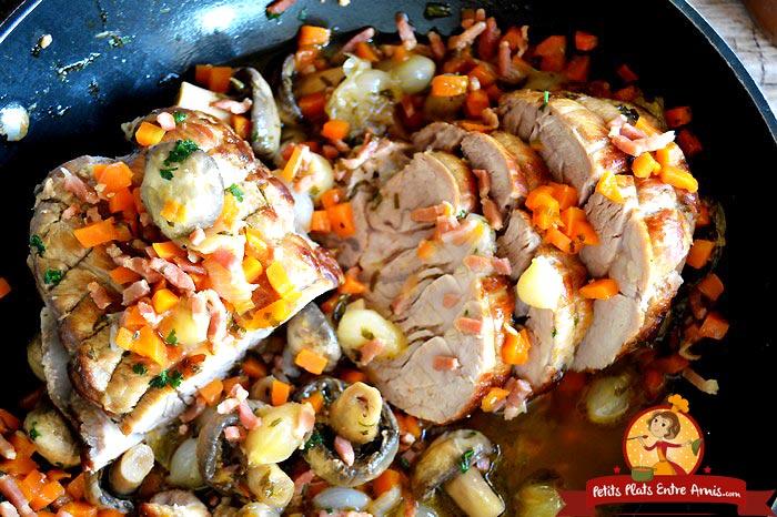Recette du r ti de veau la cocotte petits plats entre amis - Cuisiner le veau en cocotte ...