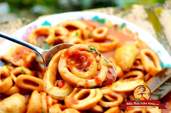 Recette des calamars l 39 armoricaine petits plats entre amis - Comment cuisiner les calamars ...