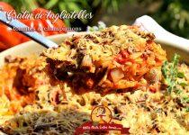 Gratin de tagliatelles tomates et champignons