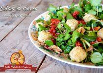 Salade de cresson aux noix et gorgonzola