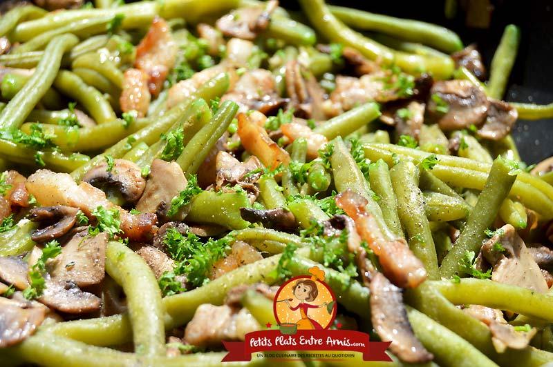 Recette de haricots verts aux lardons et champignons