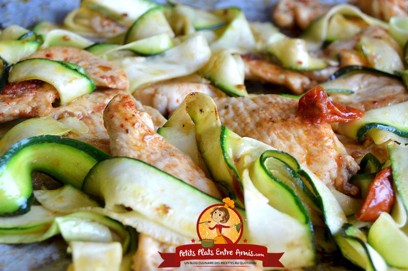 Recette de filet de poulet aux tagliatelles de courgettes