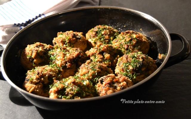 plat de champignons farçis maigres
