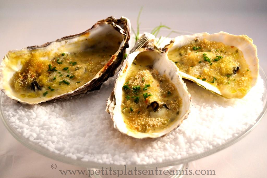 Huîtres gratinées et fondue de poireaux