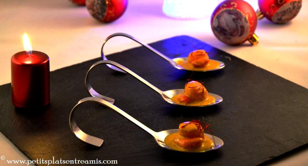 bouchées de noix de saint jacques au safran pour menu de fête