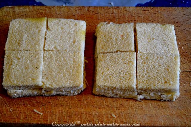 carrés crus de pain perdu aux 3 fromages