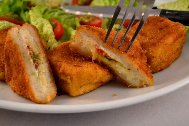 pain perdu au 3 fromages avec fourchette