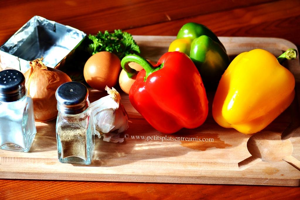 ingrédients oeufs en poivronnade