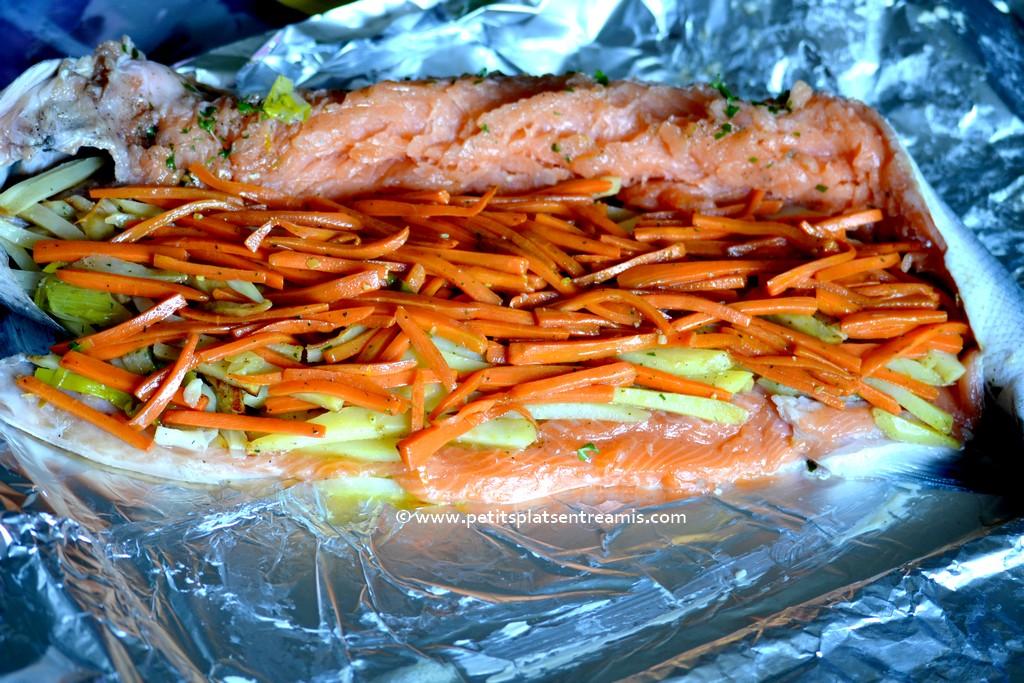 petits légumes dans saumon
