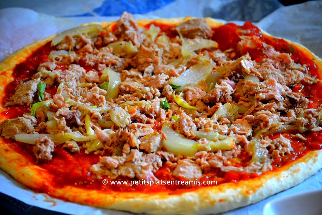 préparation pizza au thon