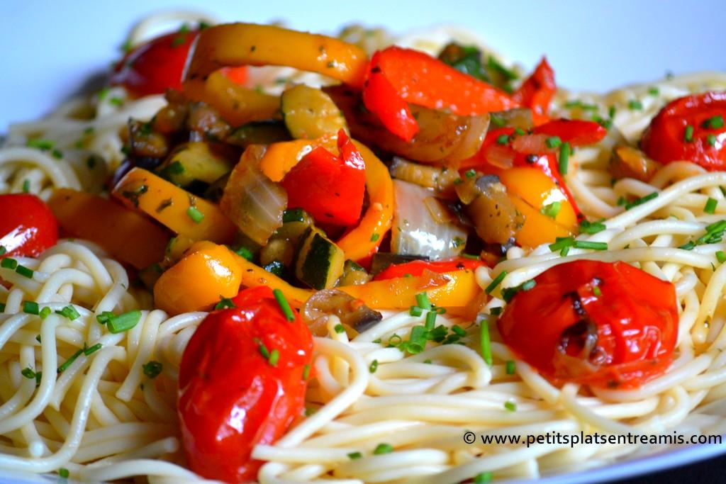 vue de légumes sur spaghettis