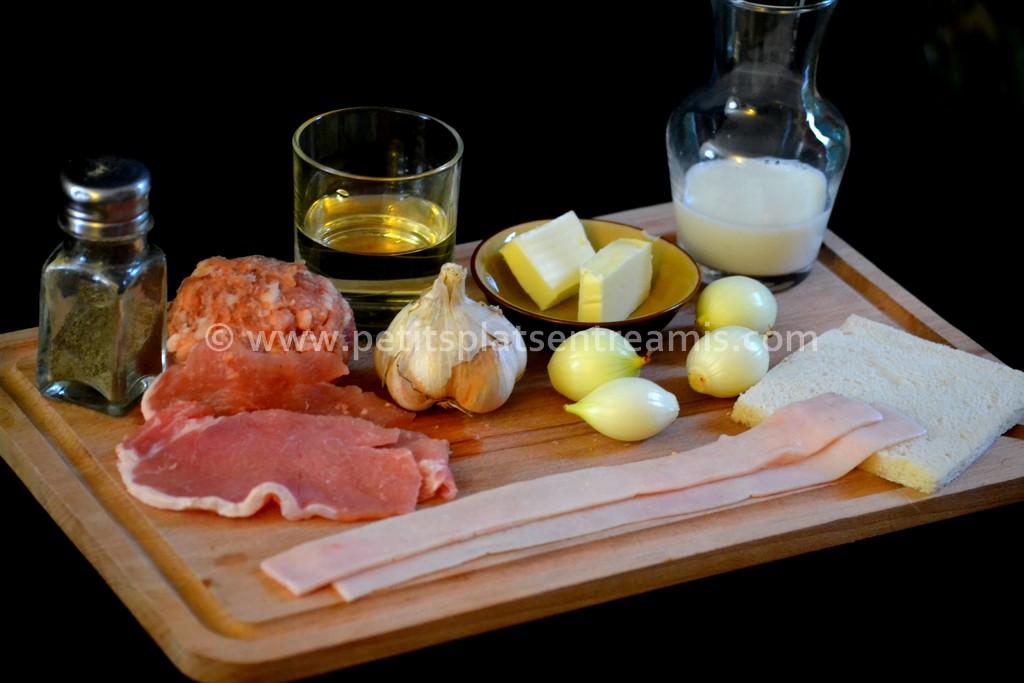 ingrédients pour paupiettes de porc