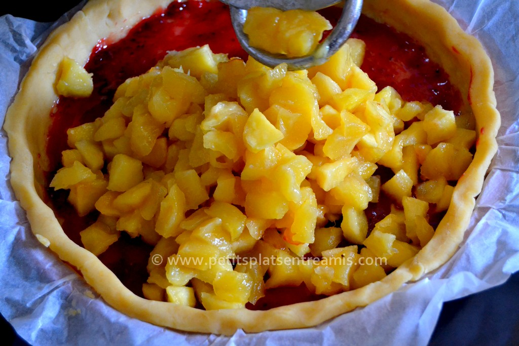 pommes caramélisées dans tarte