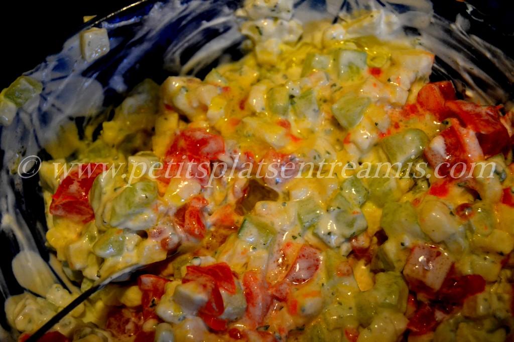 préparation finale concombre à la crème revisités