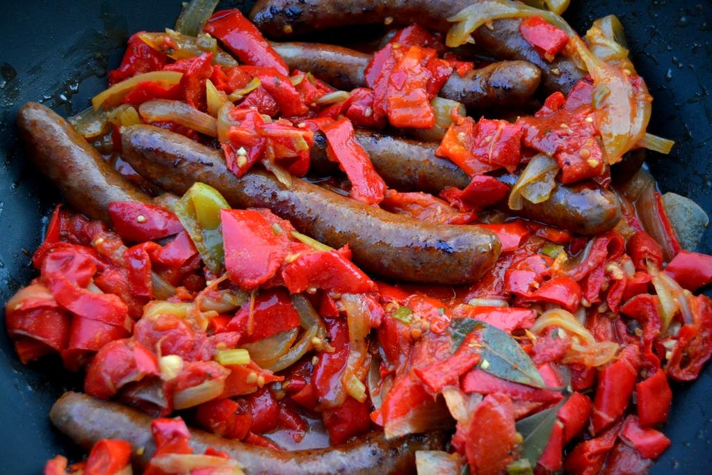 cuisson poêlée de poivrons aux merguez