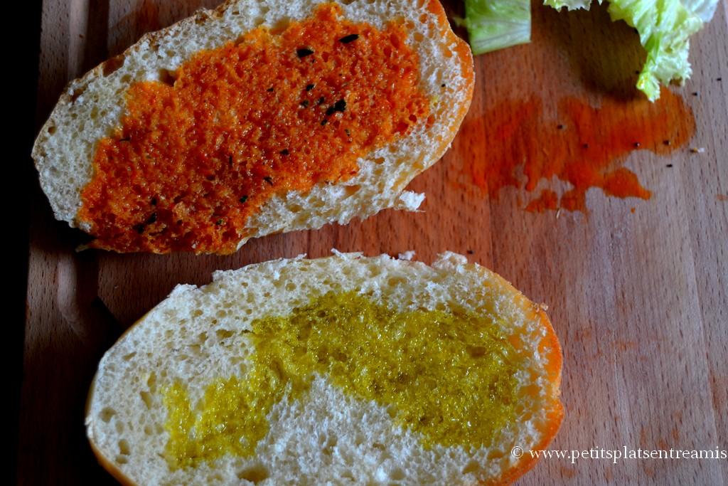 préparation pain pour burger avocat crevettes