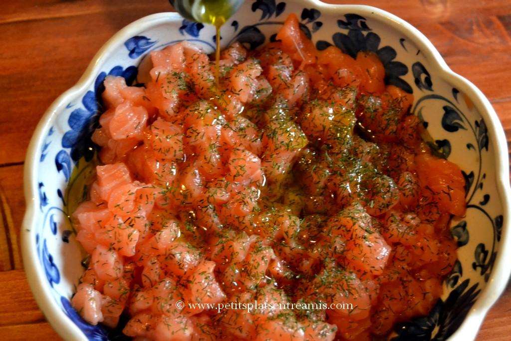 préparation tartare de saumon