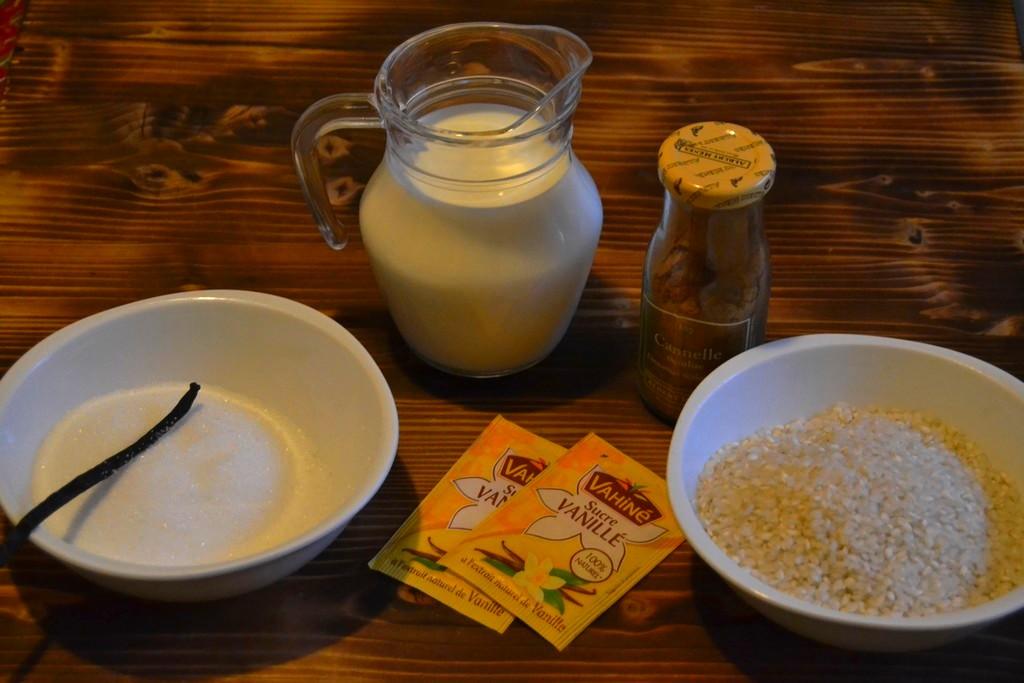 ingrédients pour riz au lait