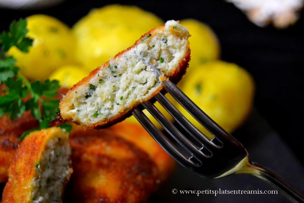 bouchée de croquettes de poisson panées