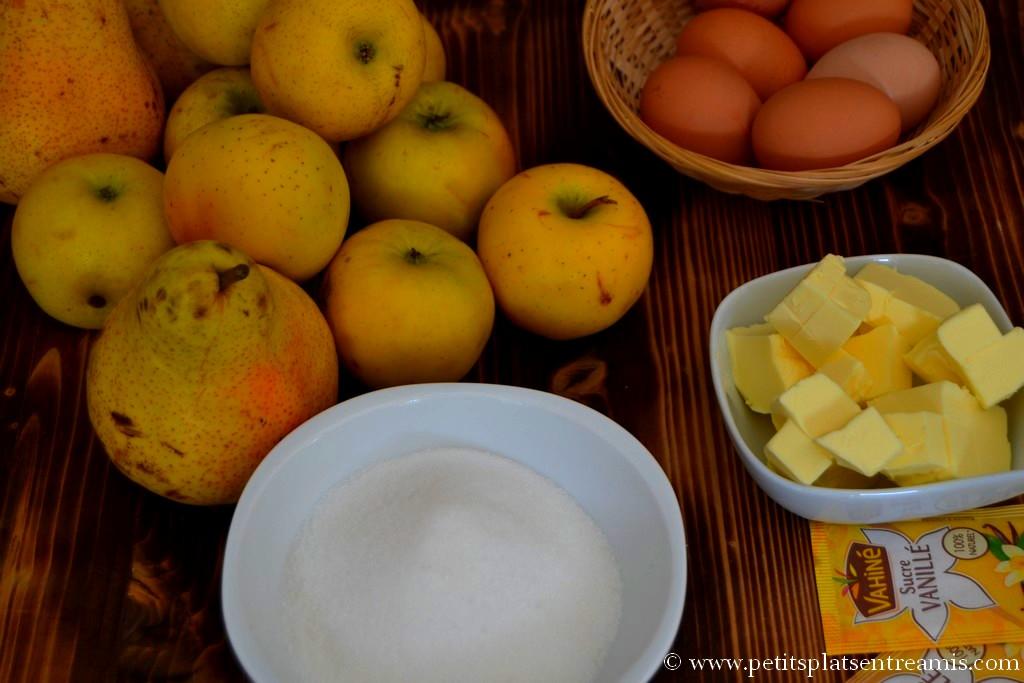 ingrédients pour fondant pommes & poires