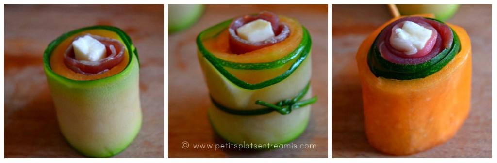 roulés melon courgette