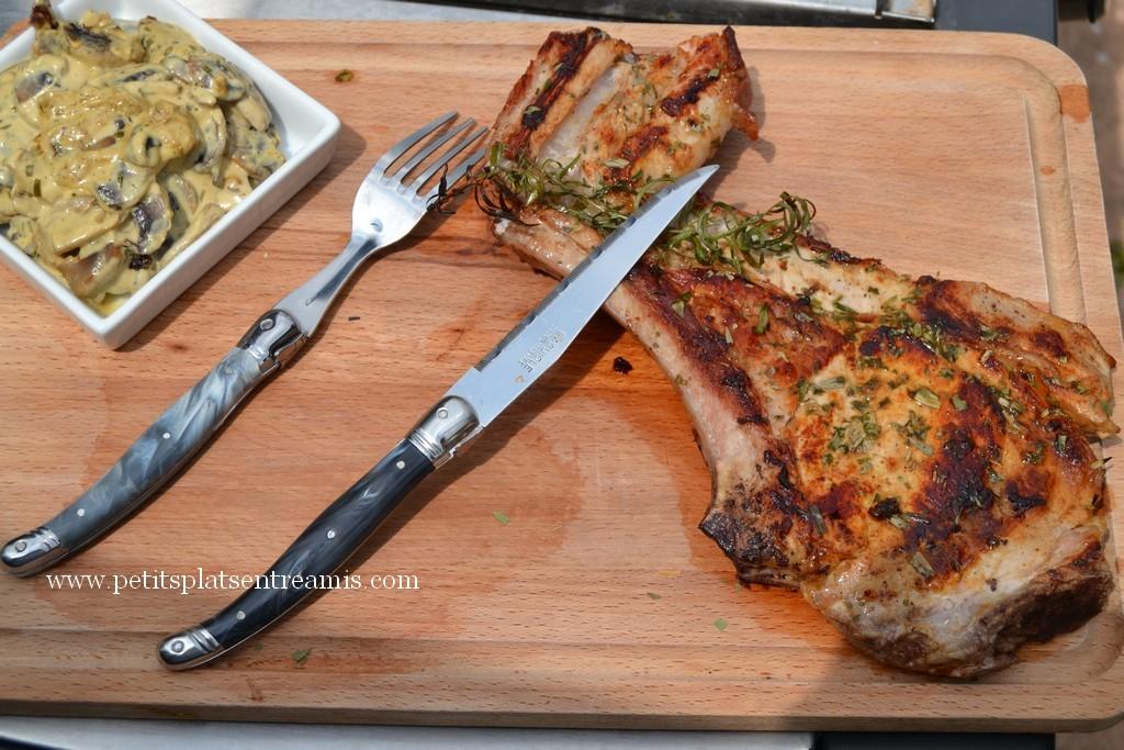 Côte de veau et champignons à l'estragon