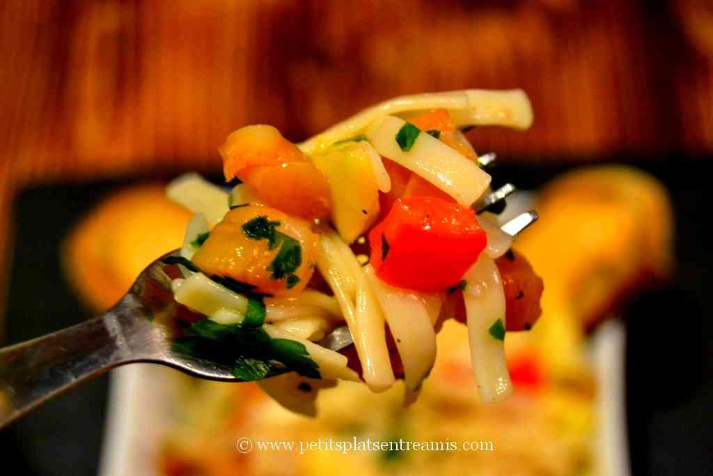 bouchée de salade de pâtes aux noix de St-Jacques