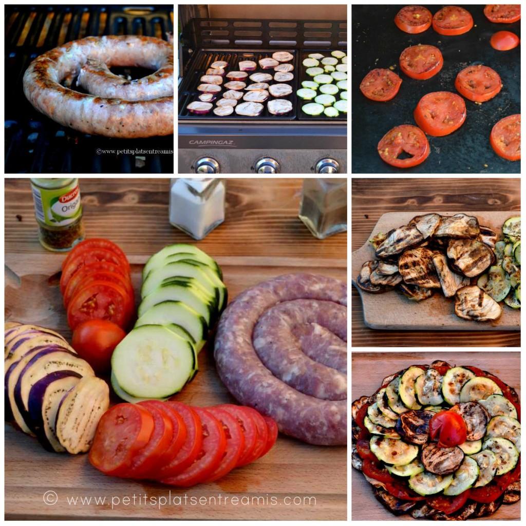 cuisson barbecue saucisse et légumes
