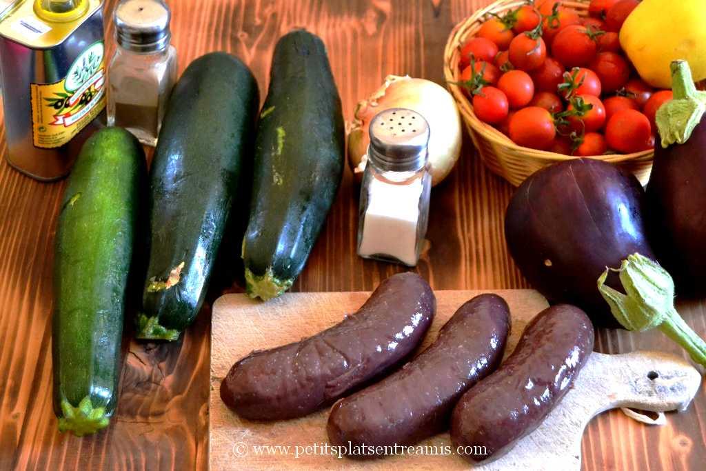 ingrédients courgettes farcies au boudin