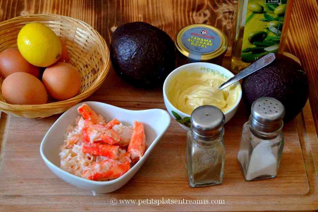 ingrédients pour douceurs d'avocat au crabe royal