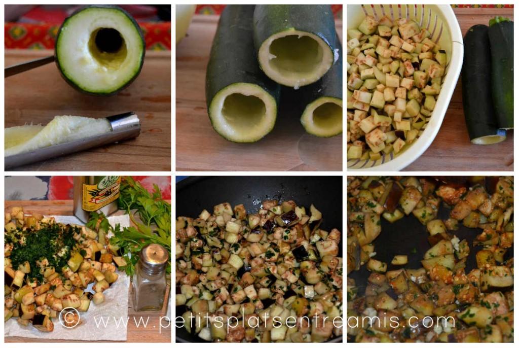 préparation des légumes pour courgettes farcies