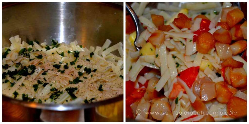 préparation salade de Pâte aux noix de st jacques