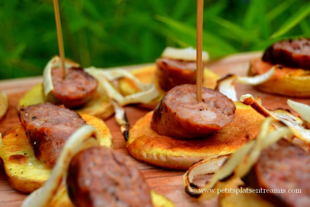 présentation tapas de saucisses campagnardes