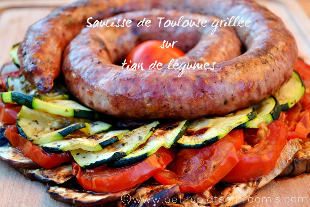 saucisse de Toulouse grillée sur tian de légumes