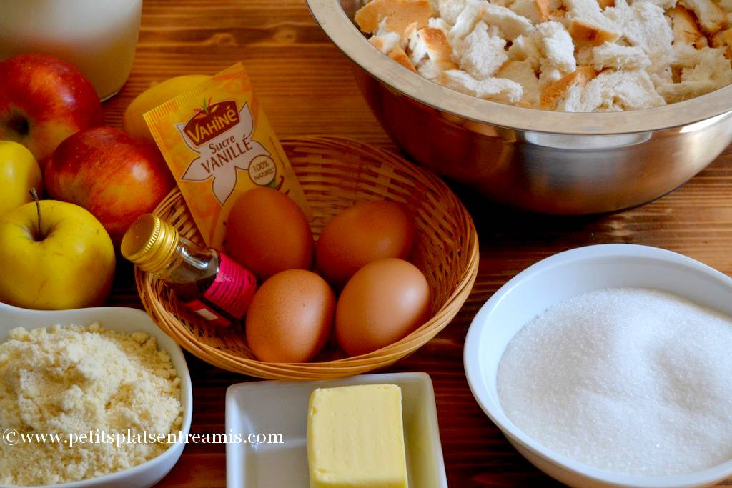 ingrédient pudding aux pommes