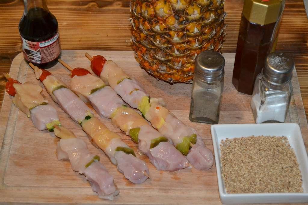ingrédients pour brochettes à l'ananas